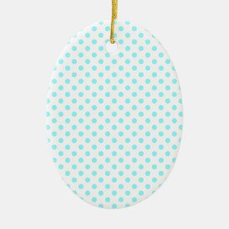 Lunares - azul eléctrico en blanco adorno ovalado de cerámica