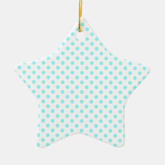 Lunares - azul eléctrico en blanco adorno de cerámica en forma de estrella
