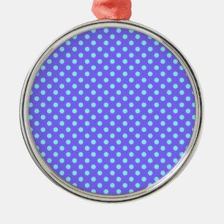 Lunares - azul eléctrico en violeta adorno redondo plateado