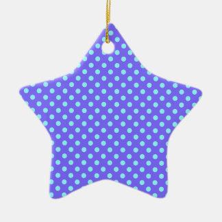 Lunares - azul eléctrico en violeta adorno de cerámica en forma de estrella