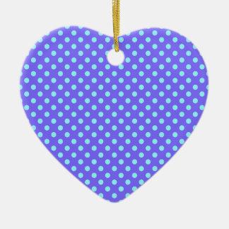 Lunares - azul eléctrico en violeta adorno de cerámica en forma de corazón