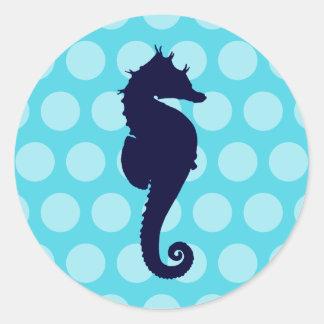 Lunares azul marino del azul de la aguamarina del pegatina redonda
