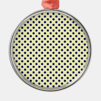 Lunares - azul marino en amarillo eléctrico adorno redondo plateado