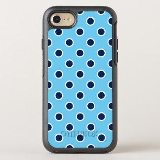 Lunares azul marino juguetones en azul claro funda OtterBox symmetry para iPhone 8/7