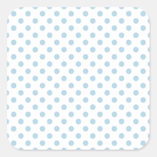 Lunares - azules claros en blanco pegatina cuadradas personalizada