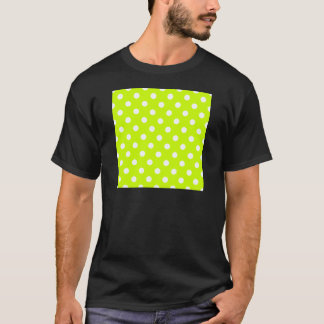 Lunares - blanco en amarillo fluorescente camiseta