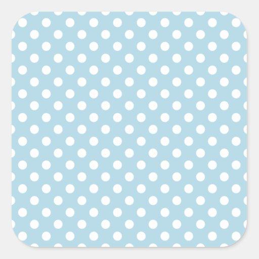 Lunares - blanco en azul claro colcomanias cuadradas