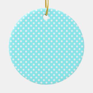 Lunares - blanco en azul eléctrico adorno redondo de cerámica