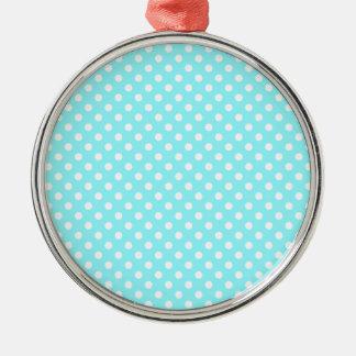 Lunares - blanco en azul eléctrico adorno redondo plateado