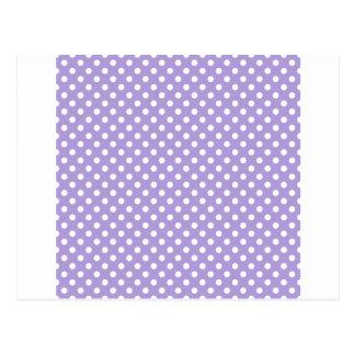 Lunares - blanco en púrpura en colores pastel postal