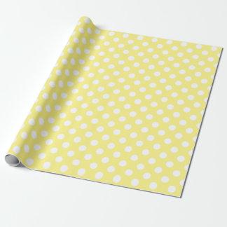 Lunares blancos en amarillo limón papel de regalo