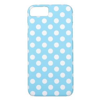 Lunares blancos en azul claro funda iPhone 7