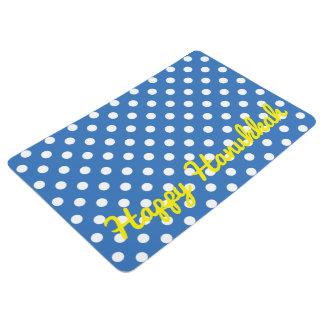 Lunares blancos en el azul medio personalizado alfombra