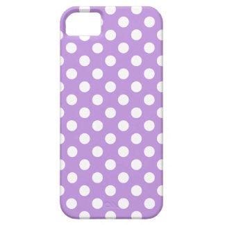 Lunares blancos en lila funda para iPhone SE/5/5s