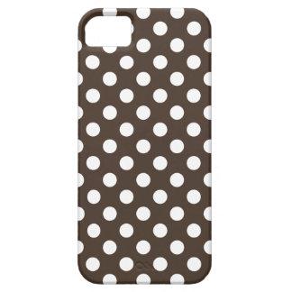 Lunares blancos en marrón funda para iPhone SE/5/5s