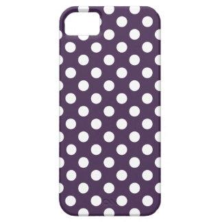 Lunares blancos en púrpura del ciruelo funda para iPhone SE/5/5s