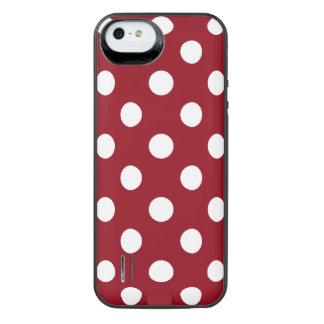 Lunares blancos en rojo carmesí funda con bateía para iPhone SE/5/5s