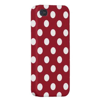Lunares blancos en rojo carmesí iPhone 4 cárcasas