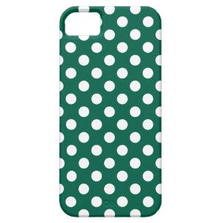 Lunares blancos en verde salvia funda para iPhone SE/5/5s