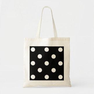 Lunares blancos negros - bolso bolsa tela barata
