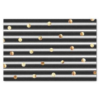 Lunares blancos negros modernos del oro del modelo papel de seda