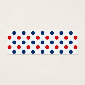 Lunares blancos y azules rojos tarjeta de visita pequeña