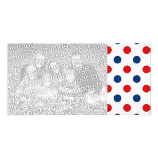 Lunares blancos y azules rojos tarjetas personales con fotos