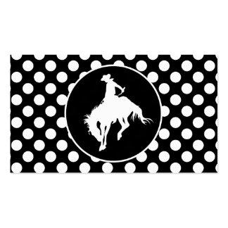Lunares blancos y negros Vaquero del rodeo Plantilla De Tarjeta De Negocio