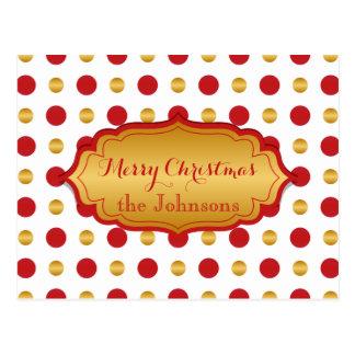 Lunares clásicos del navidad del rojo y del oro postal