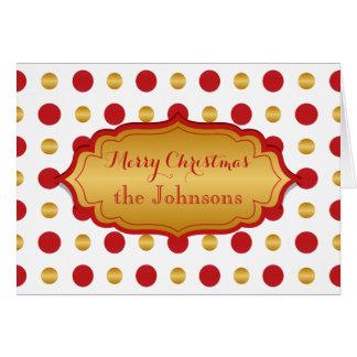 Lunares clásicos del navidad del rojo y del oro tarjeta de felicitación