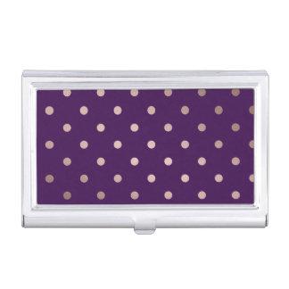 lunares color de rosa elegantes de la púrpura del cajas de tarjetas de negocios