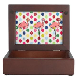 Lunares coloridos de los flamencos enrrollados caja de recuerdos