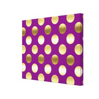 Lunares con clase de la hoja de oro púrpuras impresión en lienzo