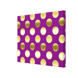 Lunares con clase de la hoja de oro púrpuras lienzo