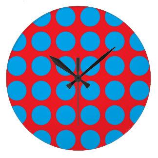 Lunares de la turquesa rojos reloj redondo grande