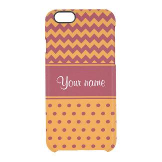 Lunares de moda de la mandarina de los galones de funda transparente para iPhone 6/6s