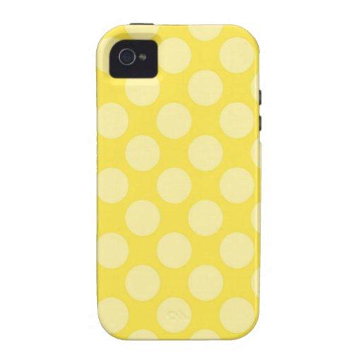 Lunares del amarillo del verano de la diversión en iPhone 4 fundas