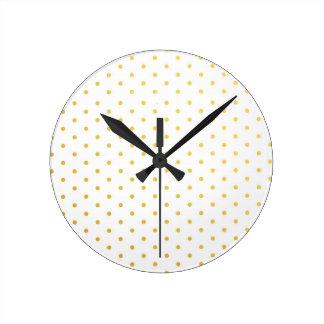 Lunares del oro de la moda reloj redondo mediano