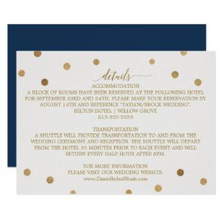 Lunares del oro que casan los detalles invitación 8,9 x 12,7 cm