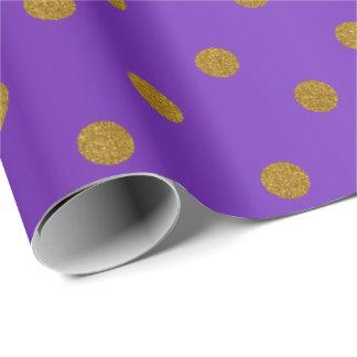 Lunares del oro y satén púrpura papel de regalo