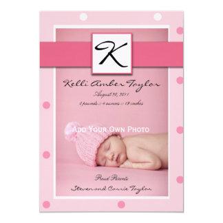 Lunares del rosa de la invitación del nacimiento invitación 12,7 x 17,8 cm
