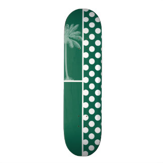 Lunares del verde de botella de la palma del veran monopatín