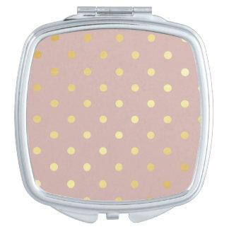 lunares elegantes del rosa del oro espejo para el bolso
