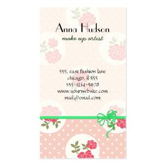 Lunares elegantes lamentables, rosas - verde tarjetas de visita