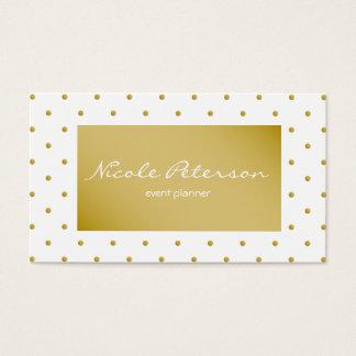 lunares elegantes llanos simples del oro blanco tarjeta de negocios