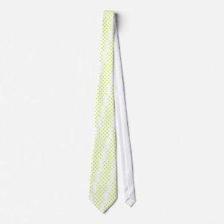 Lunares enormes - amarillo fluorescente en blanco corbatas personalizadas