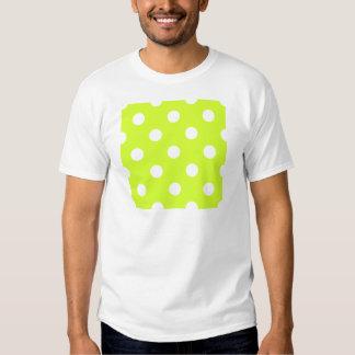Lunares enormes - blanco en amarillo fluorescente camisetas