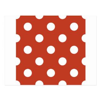 Lunares enormes - blanco en rojo en colores pastel postal