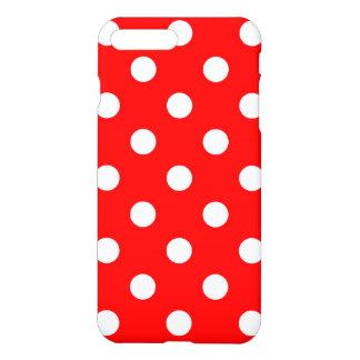 Lunares enormes - blanco en rojo funda para iPhone 7 plus