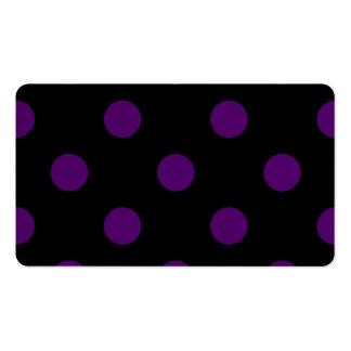 Lunares enormes - violeta oscura en negro tarjetas de visita